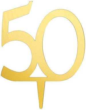 Darice Vl350Num Mirror Acrylic Number 50-Cake Topper - Gold - 4-Inch