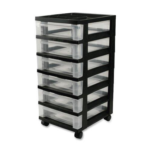 Iris 6-Drawer Storage Cart With Organizer Top, Black