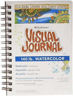 "Strathmore Visual Journal Spiral Bound 5.5""X8""-140 Watercolor"
