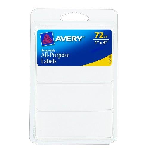 Avery Removable Labels - Rectangular - 1 X 3 Inch - White - 72