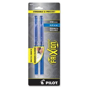 Pilot Frixion Point Erasable Gel Pens, Extra Fine Point, 2-Pack, Blue Ink (31577)