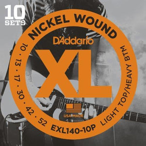 D'Addario Exl140-10P Nickel Wound Electric Guitar Strings, 10-52, 10 Sets