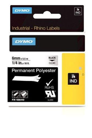 Dymo Rhino Adhesive Vinyl Label Tape - 1/4-Inch - 18-Foot Cassette - Clear