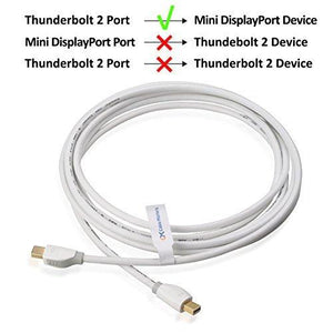 Cable Matters Gold-Plated Mini Displayport Cable In White 10 Feet