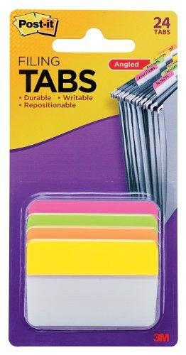 Post-It Tabs, 2-Inch Angled Solid, Assorted Bright Colors, 6-Tabs/Color, 4-Colors, 24-Tabs/Pack