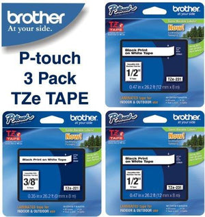 "Brother Laminated Black On White Laminated Tape 3Pack (Tze-231 1/2"" 12Mm) & (Tze-221 1 X 3/8"" 9Mm)"
