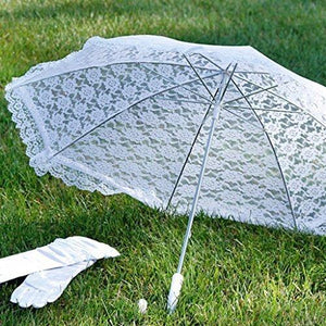 Darice 35058-1 Lace Embroidered Parasol, 32-Inch, White