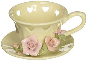 Cosmos 1011 Fine Porcelain Rose Cup Tea Light Holder, 3-Inch