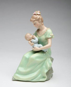 Cosmos 80107 Fine Porcelain Mom With Baby Boy Musical Figurine - 7-1/4-Inch