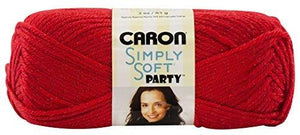 Caron Simply Soft Party Yarn, 3 Ounce, Rich Red Sparkle, Single Ball
