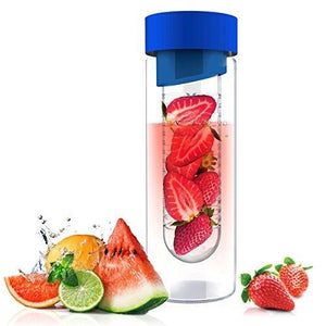 Asobu Flavor It 20 Ounce Glass Water Bottle With Fruit Infuser, Blue