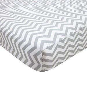 American Baby Company 100% Cotton Percale Fitted Portable/Mini Crib Sheet - Zigzag Grey