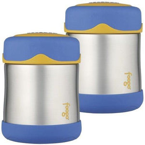 Thermos Foogo Leak-Proof Stainless Steel Food Jar, 10 Ounce - 2 Pack (Blue)