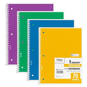 Mead Spiral Notebook 1-Subject - 70-Count - Wide Ruled - Assorted Colors - 4 Pack