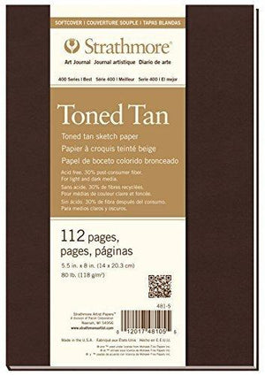 "Strathmore 400 Series Softcover Toned Tan Art Sketch Journal, 5.5""X8"", 56 Sheets"