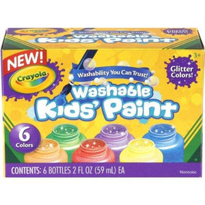 Crayola Washable Glitter Paint, 2-Ounce, 6 Count