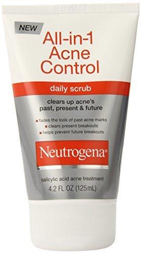 Neutrogena All-In-1 Acne Control Daily Face Scrub 4.2 Fl Oz (Pack of 3)
