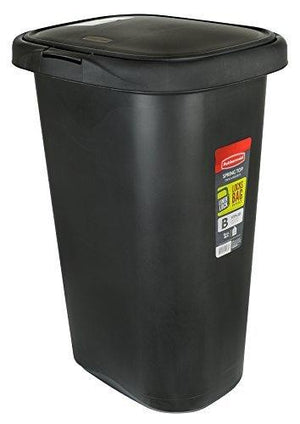 Rubbermaid Fg5L5806Bla Spring-Top Wastebasket, 13-Gallon, Black
