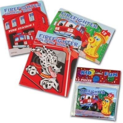 U.S. Toy Assorted Fireman Fire Engine Mini Coloring Books (Lot Of 12)