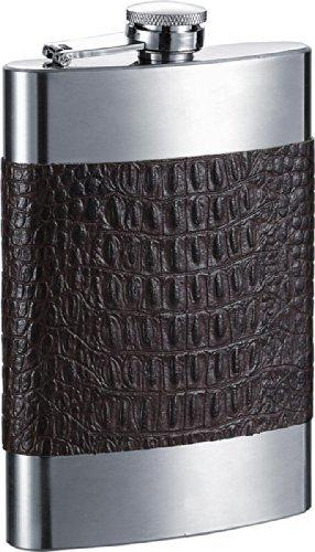 Visol Maraval Leather Stainless Steel Liquor Flask - 8-Ounce - Black