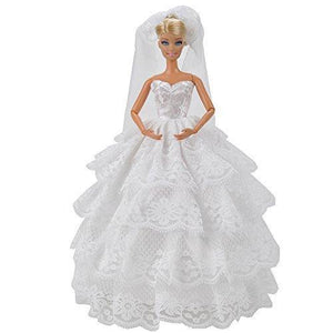 E-Ting Fashion Handmade Wedding Evening Party Dress Clothes Gown Veil For Barbie Dolls Gift