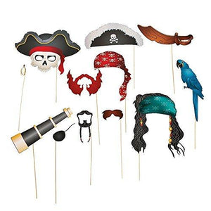 Fun Express Pirate Photo Booth Props - 12 Pieces