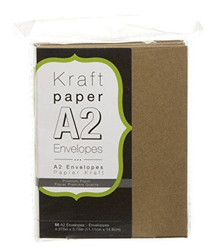 Darice Smooth A2 Envelopes, 4.375 X 5.75-Inch, Kraft, 50-Pack
