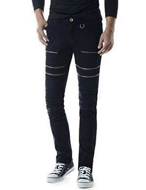 TheLees Mens Slim Stretchy Flat Front Zipper Pants