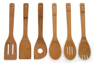 Japanbargain-Set Of 6 Bamboo Kitchen Tools Spatula Fork Spoon Turner