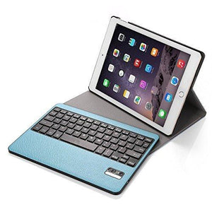 Poweradd Ipad Air 2 Wireless Keyboard Ultra Thin Folio Pu Leather Case Cover - Blue