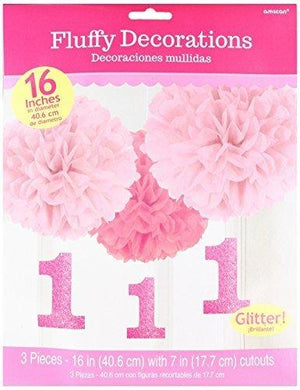 Amscan 1St Birthday Fluffy Decorations Large Pink