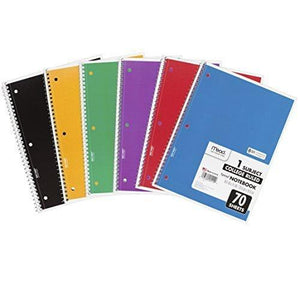 "Mead Spiral Notebooks 1 Subject College Ruled Paper 70 Sheets 10-1/2"" X 7-1/2"" Assorted Colors 6 Pack (73065)"