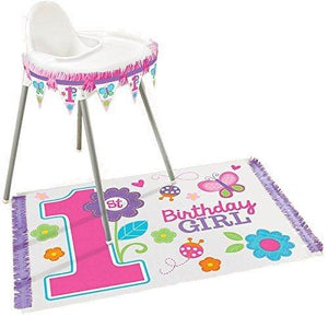 Amscan Flowers And Butterflies Girl'S 1St Birthday Party High Chair Decorating Kit
