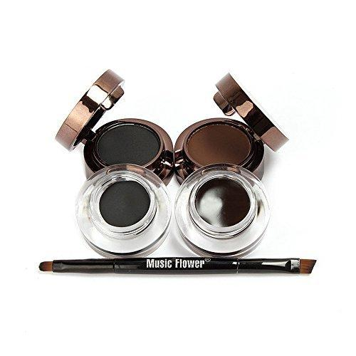 Music Flower 4 In 1 Gel Eyeliner And Eyebrow Powder Kit Brown Black Waterproof With Eye Liner Brush