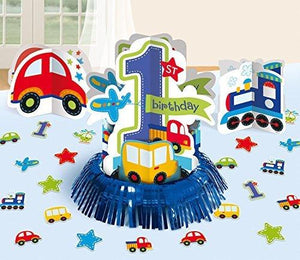 Amscan All Aboard Boy 1St Birthday Table Decorating Kit Large Blue