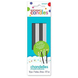Amscan Party Time Sparkling Thin Novelty Glitter Birthday Candles Pack Of 18