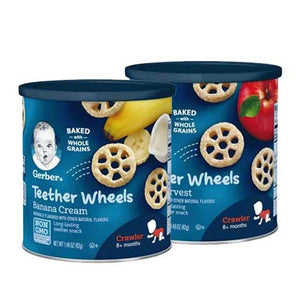 Gerber Teether Wheels  1.48 oz Canister (Apple Harvest + Banana Cream)