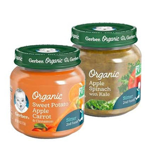 Gerber Organic 2nd Foods 4 oz. Glass Jar (Apple Spinach with Kale +  Sweet Potato Apple Carrot & Cinnamon)
