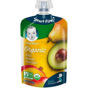 Gerber 2nd Foods Organic Pear Mango Avocado 3.5 Oz. Pack of 4