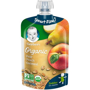 Gerber Organic Food, Pear Peach Oatmeal 3.5 Oz Pack of 4