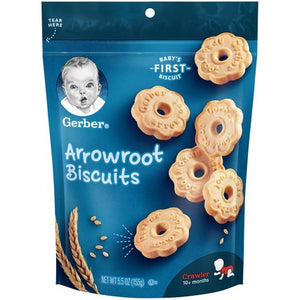 Gerber Arrowroot Cookies 5.5 oz. Pack of 4
