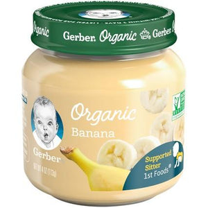 Gerber Organic 1st Foods Banana 4 oz. Glass Jar Pack of 6