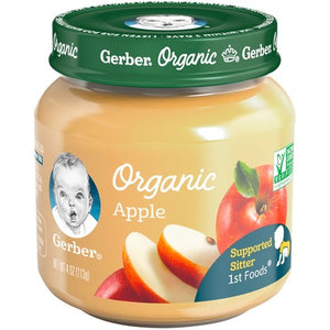 Gerber Organic 1st Foods Apple 4 oz. Glass Jar Pack of 4