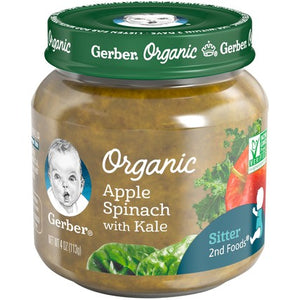 Gerber Organic 2nd Foods Apple Spinach with Kale 4 oz. Glass Jar Pack of 4