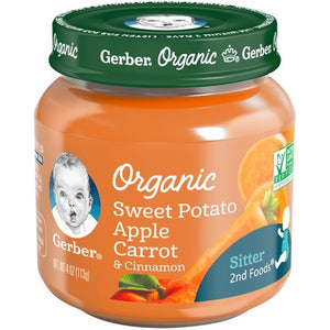 Gerber Organic 2nd Foods Sweet Potato Apple Carrot & Cinnamon 4 oz. Glass Jar Pack of 4