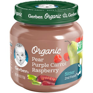 Gerber Organic 2nd Foods Pear Purple Carrot Raspberry 4 oz. Glass Jar Pack of 4