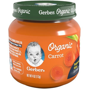 Gerber Organic 1st Foods Carrot 4 oz Glass Jar Pack of 4