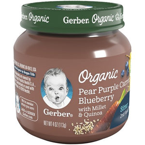 Gerber Organic 2nd Foods Pear Purple Carrot Blueberry 4 oz Glass Jar Pack of 4