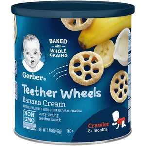Gerber Teether Wheels Banana Cream 1.48 oz Canister Pack of 4