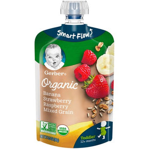 Gerber Organic Toddler Foods Banana Strawberry Raspberry Mixed Grain 3.5 oz Pouch Pack of 4